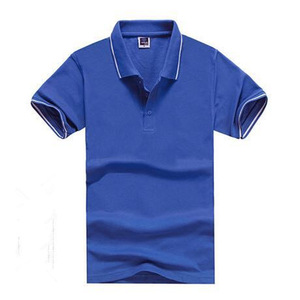 OEM Polo Shirt design Custom 210gsm 65% Cotton 35% Polyester Blank Work BluePolo Shirts with White Trim(A896)