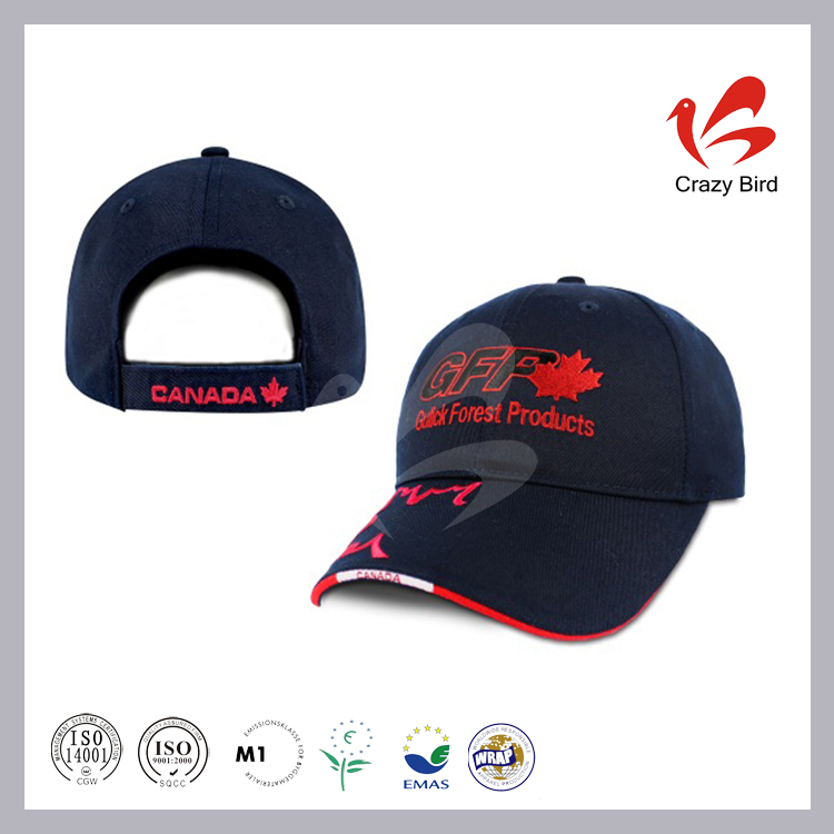 Hot Sale Cool Black Blue Embroidery Air Holes Crazy Bird 3D Baseball Cap Model