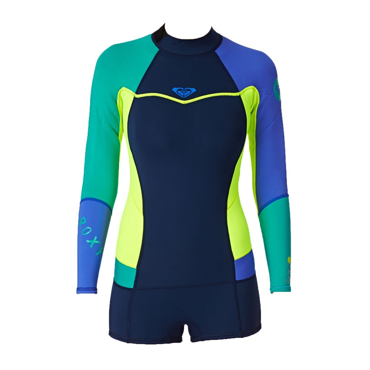 a299995417 Get Quotations · Roxy Syncro Booty Cut Springsuit Womens Long Sleeve Wetsuit  LIMITED EDITION - Navy Lemon