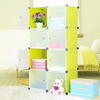 8 cubes DIY storage cabinet with green non see though PP plastic can hold books.clothes(FH-AL0030-8)