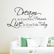 large size ebay hot inspirational quotes & sayings Dream As If You Could Live Forever vinyl wall decal stickers
