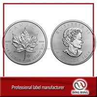 Custom Metal Made Ag 999 Engraved Maple Leaf Replica Silver Coin