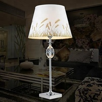 Rhombus Crystal Chrome Cheap Table Lamp with Fancy Table Lamp Shade