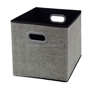 China Houseware Cheap Price Cardboard Foldable Nonwoven Fabric Container Storage Boxes with Plastic Handle