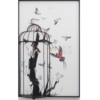Home decoration pieces relief cage craft 3D wall art