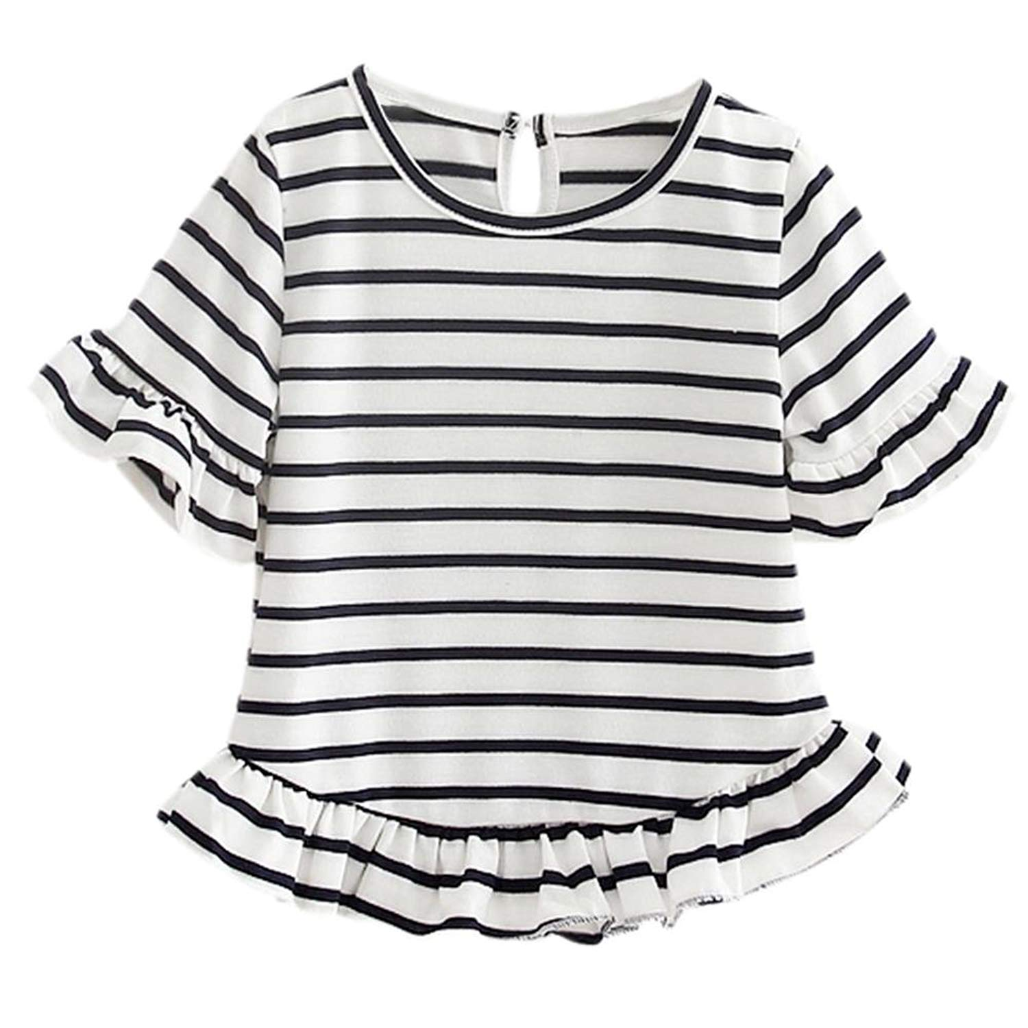 AFfeco Summer Girls T-Shirt Flare Sleeve Kids Stripe O-Neck Clothes Fashion Tops