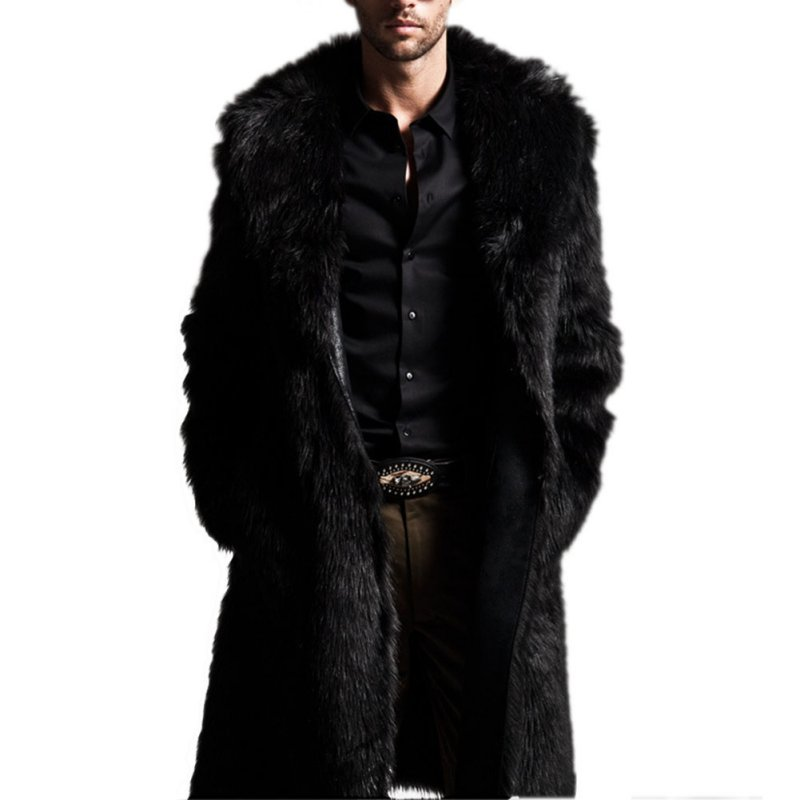a71b3edbdf0 Wholesale- Fashion Winter Men Coats Rabbit Faux Fur Long Jackets Men Coat  Long Sleeve Turn-Down Collar Coat Plus Size Men Outwear lLongCoat
