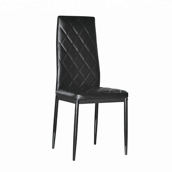 Black PU leather European style dining chairs