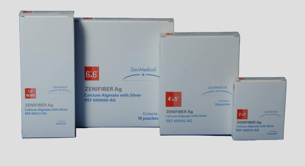 """ZeniFiber-AG Silver Calcium Alginate Wound Dressing - for Ulcers, Wounds, and Abrasions - 10 Count 4"""" x 5"""""""