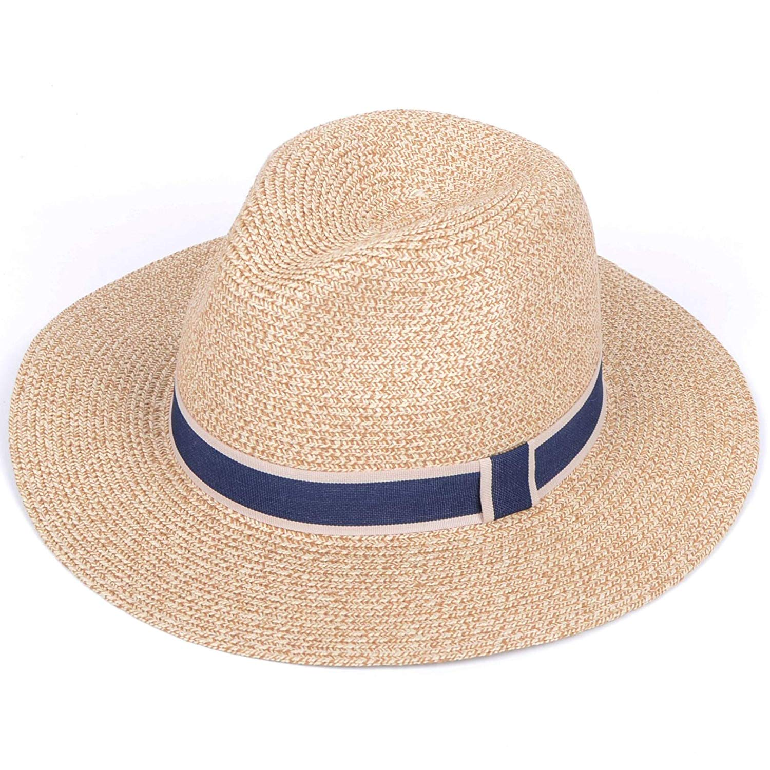 a22468682 Get Quotations · Lanzom Men Women Wide Brim Straw Panama Roll up Hat  Contrast Color Fedora Beach Sun Hat