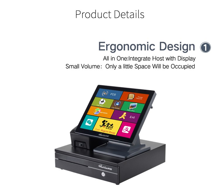 Cheap pos machine price for restaurant billing system with 58mm receipt printer, cash drawer, pos software