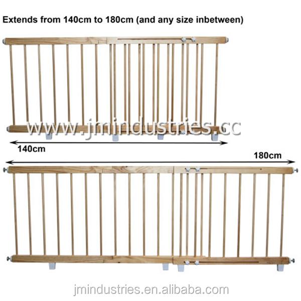Australia Standard Pine Wood Extendable Baby Door Barriers Safety