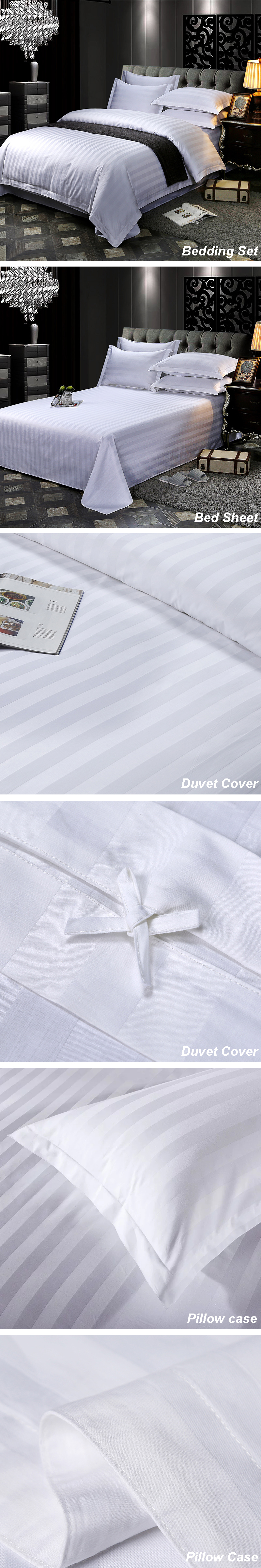 100% Cotton 3cm Stripes 4 pcs Bedding Set/Duvet Cover Sets for Hotel