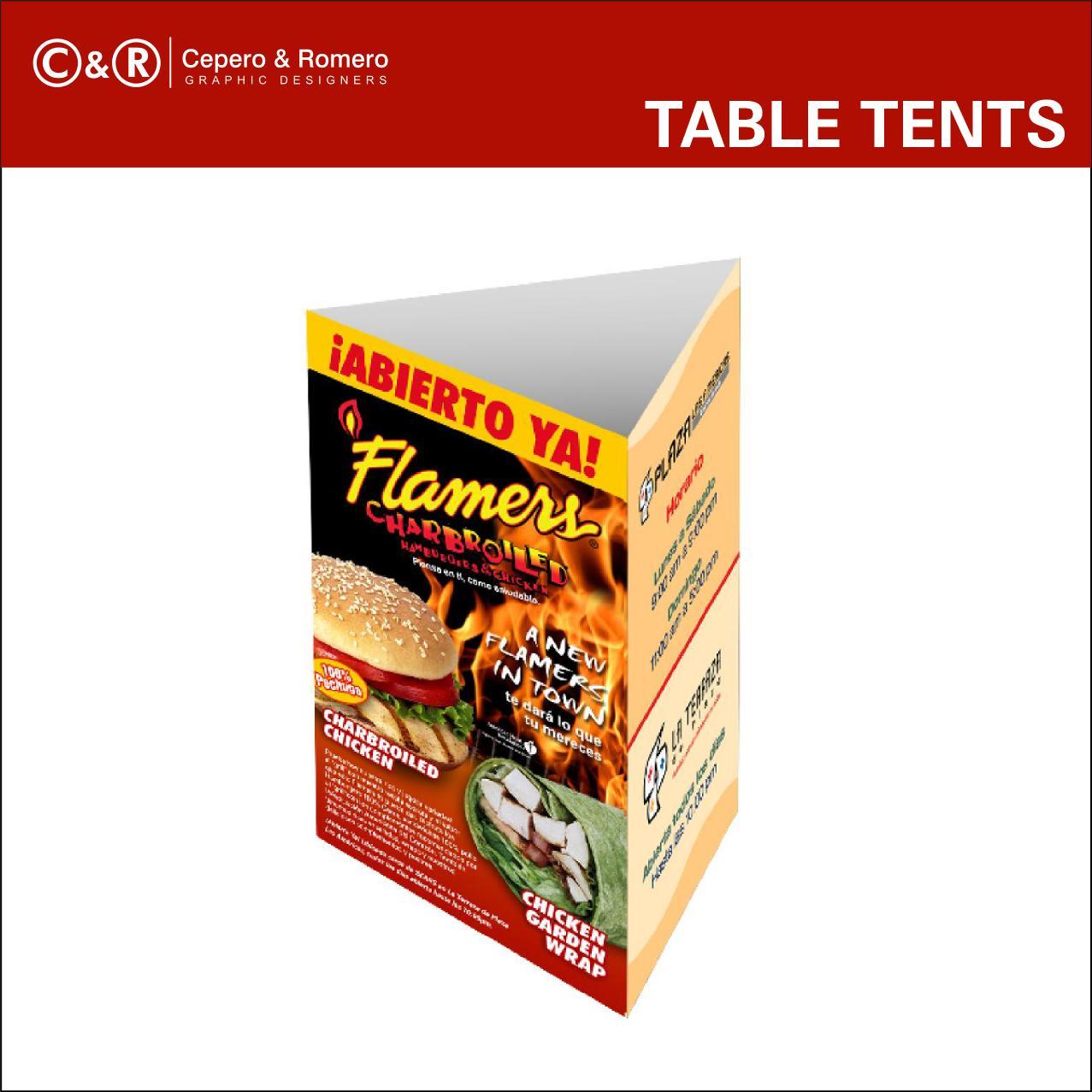 restaurant table tents