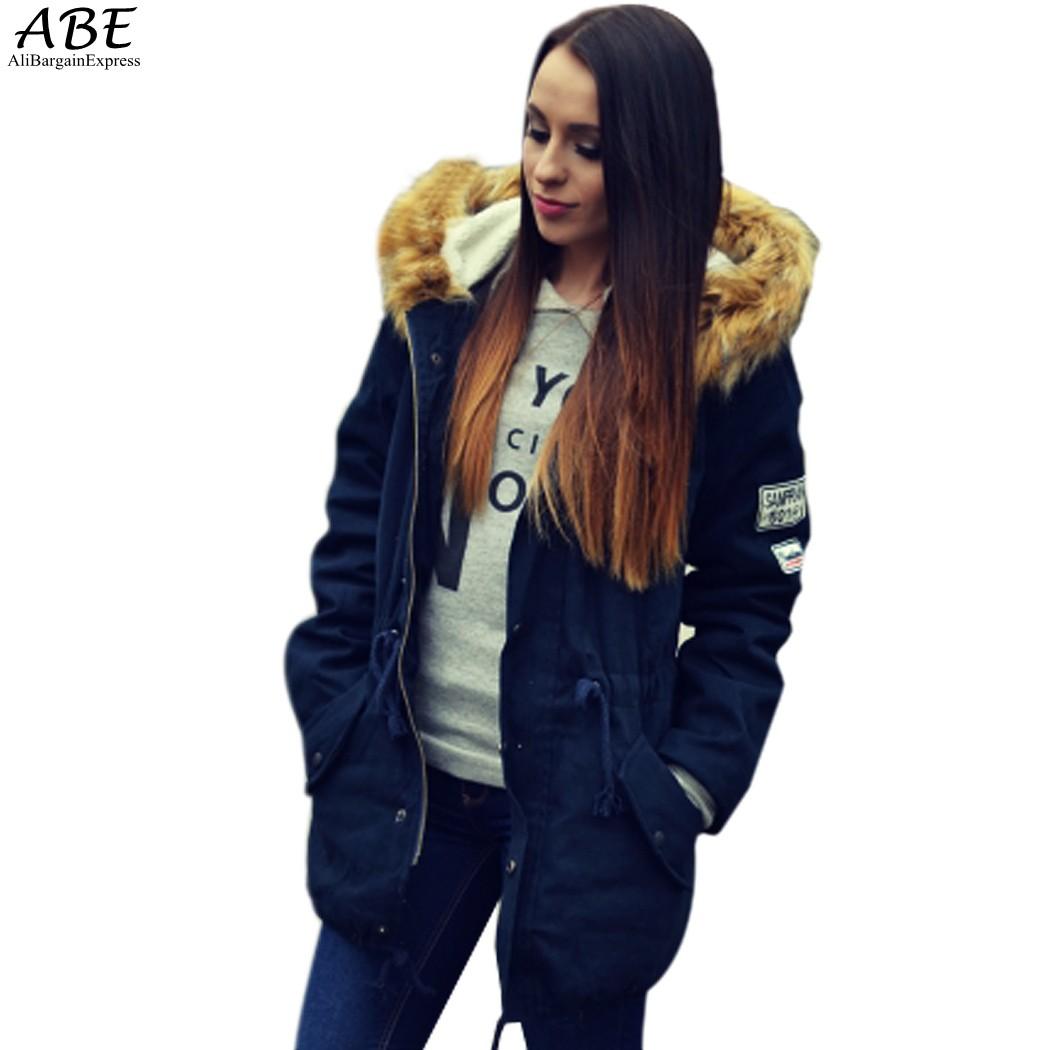 fashion women winter coat navy blue fur collar hooded. Black Bedroom Furniture Sets. Home Design Ideas