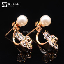 BLPE0021 new jewelry brands wholesale pierced gold plated pearl earring