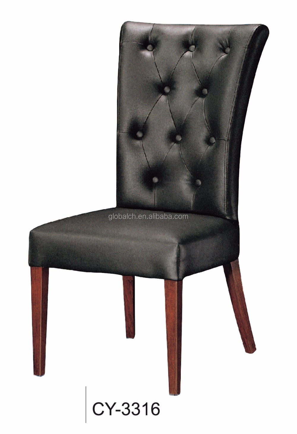 Imitate Wood Classy Long Back Metal Dining Chair