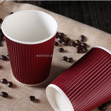 Wholesale Customized Printed Disposable Ripple Wall Coffee Paper Cup