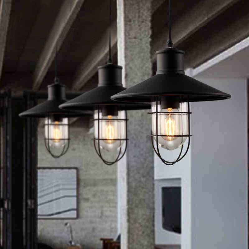 Vintage amerikaanse loft licht retro matte black officer cap vorm glas single head industri le - Licht industriele vintage ...