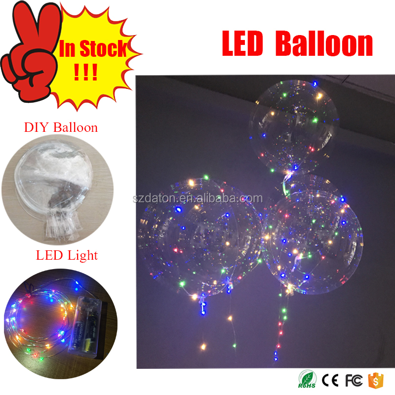 Alibaba supply 18 inch Led Flashlight Bobo Balloon to decorative Party and Charistmas Time led birthday balloons