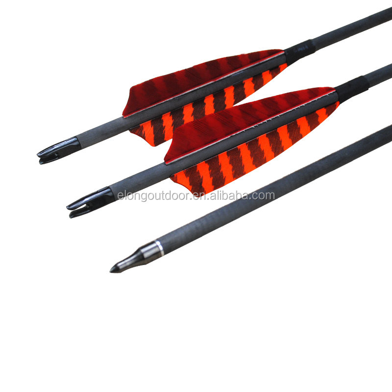 Pure Carbon Arrow With Turkey Feather For Archery Bow,For Hunting &Shooting
