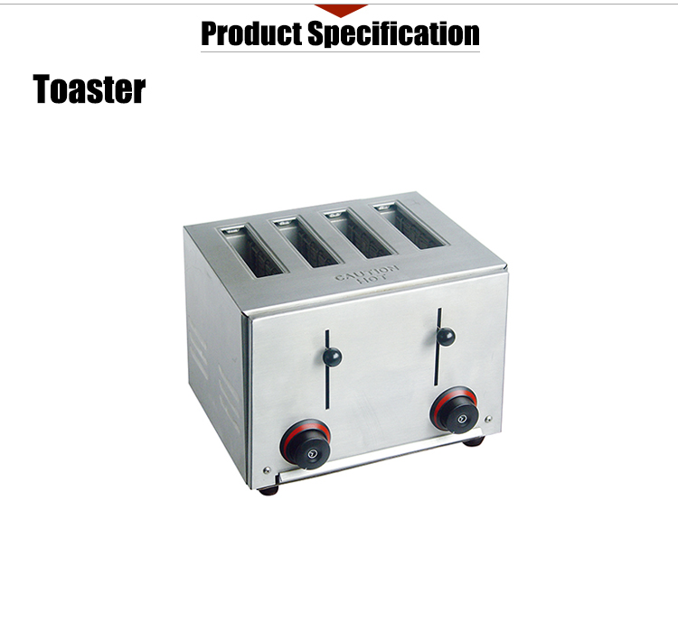Electric 4-Slice Commercial Toaster Automatic Pop-Up Function