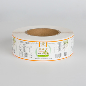 Eco-friendly self adhesive food label sticker printed for honey glass honey jar sticker roll