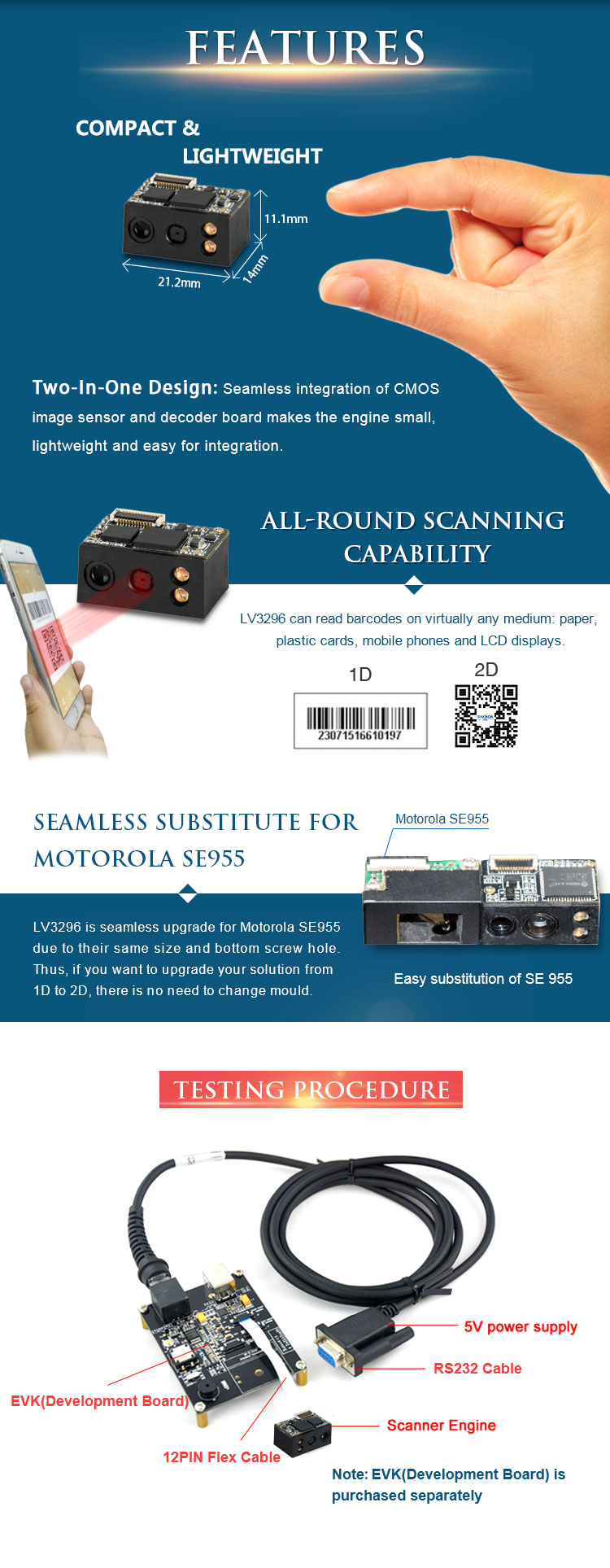 CMOS TTL232 Small 2D Barcode Scanner Module for handheld scanners