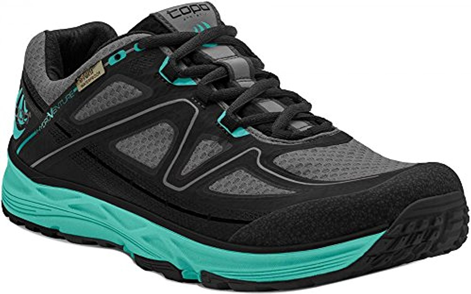 Topo Athletic Topo Women's Hydroventure Trail Running Shoes Black/Turquoise 8.5 & Headband