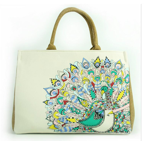 Wholesaler Heavy Duty Canvas Tote Crochet Bag with Art Printing