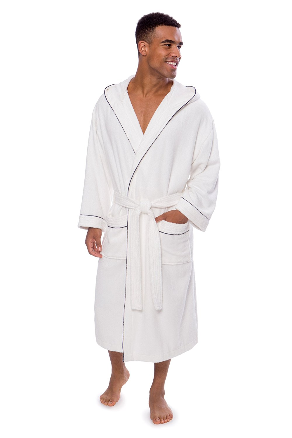 Get Quotations · TexereSilk Men s Bathrobe - Terry Cloth Robe For Men -  Luxury Hooded Spa Robe For Him ca8406e04