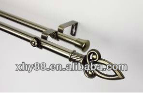 Decorative double curtain rod set