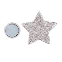 New Design Magnetic Brooch Scarf Clip Star Brooch Rineston Brooch Pins Silver Plated MB-001