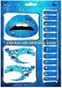 blue nail /lip/eye/foot art water transfer tattoo decal/stickers wholesale