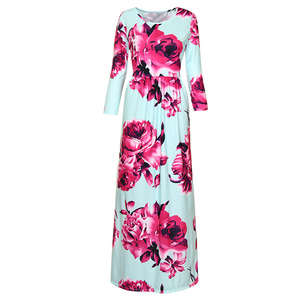 Women's Fashion Spring 3/4 Sleeve Jersey Dress w/Pocket Classic Rose Maxi Dresses