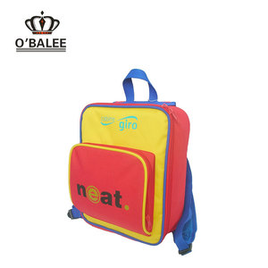 Fire proof leisure red/yellow PE foam padded ripstop personalized small square backpack for girl