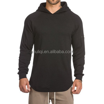 Muscle wear pullover hoodies scoop bottom side zipper wholesale 100% cotton men blank hoodies