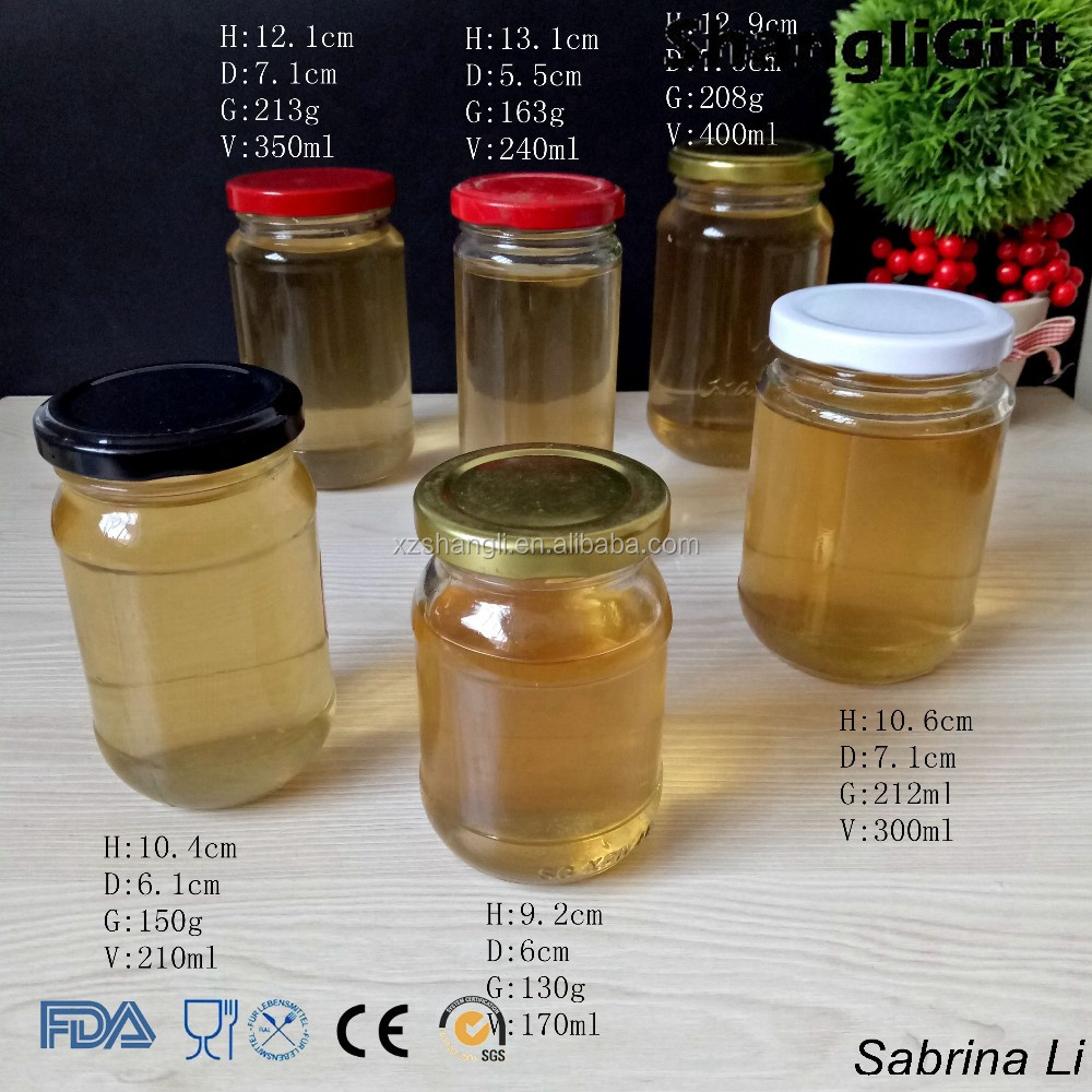 round glass jars for honey different sizes and metal caps 100ml-400ml
