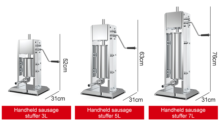 7L stainless steel manual sausage stuffer making machine/home used High quality vacuum sausage filler machine