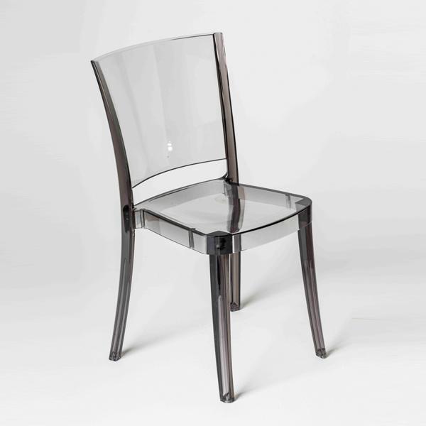 silla transparente de policarbonato lucienne fum - Sillas Transparentes Baratas