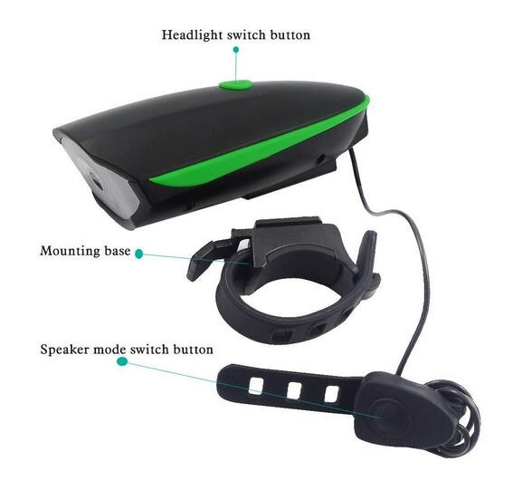 Usb Rechargeable Plastic Led Bicycle Headlight Bike Light Bicycle Light with Loud Speaker Horns Bell for Horse Riding