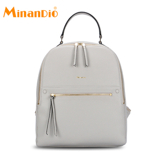 MINANDIO Summer European style leather laptop backpack for women day cute fashion blank backpack
