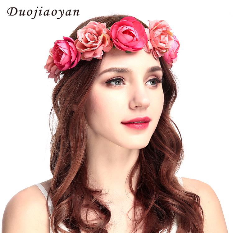 Wholesale Artificial Hair Accessories Wedding Rose Wreath Adjustable Fabric Flower  Garland Headbands For Women eec15d97662