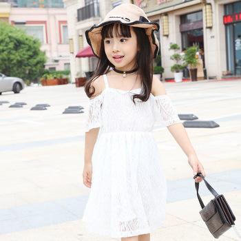 2017 nuova boutique di moda abbigliamento bambini coreano off-spalla white  lace tulle principessa notte f0763bb5851