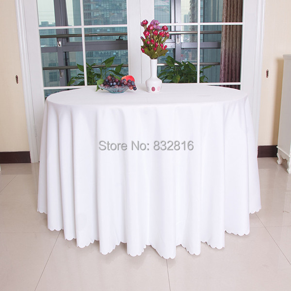 grande taille polyester blanc table ronde tissu serviette ensembles de mariage nappe couverture. Black Bedroom Furniture Sets. Home Design Ideas