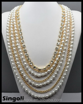 wholesales fashion 2014 multi strand gold long chain pearl necklace