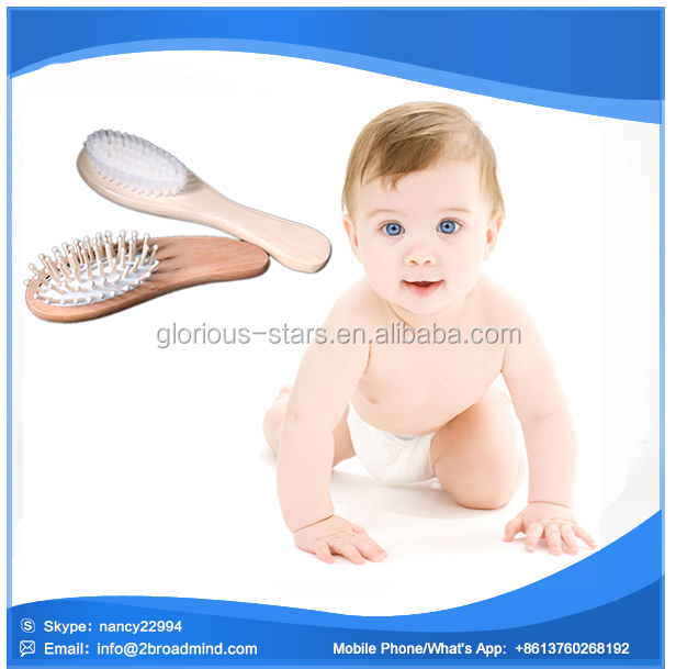 M1587 High quality goody 100% Natrual wood Goat baby hair brush