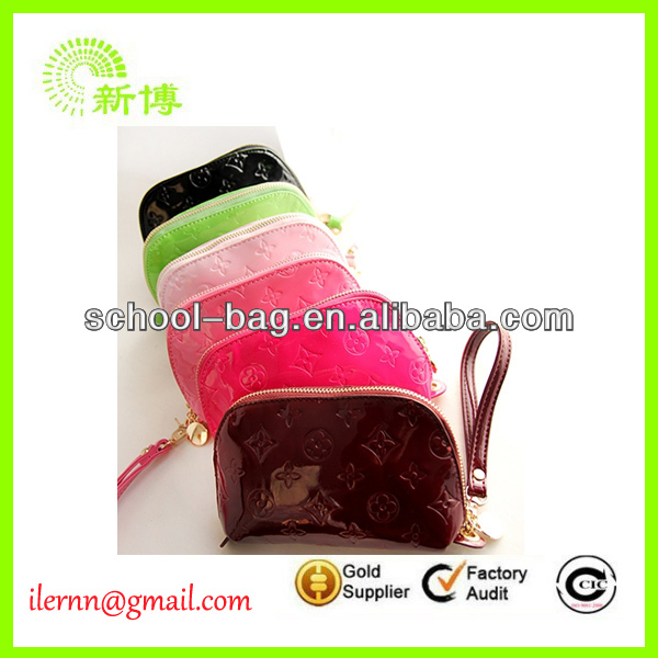personality patent leather candy color wrist bag on sale