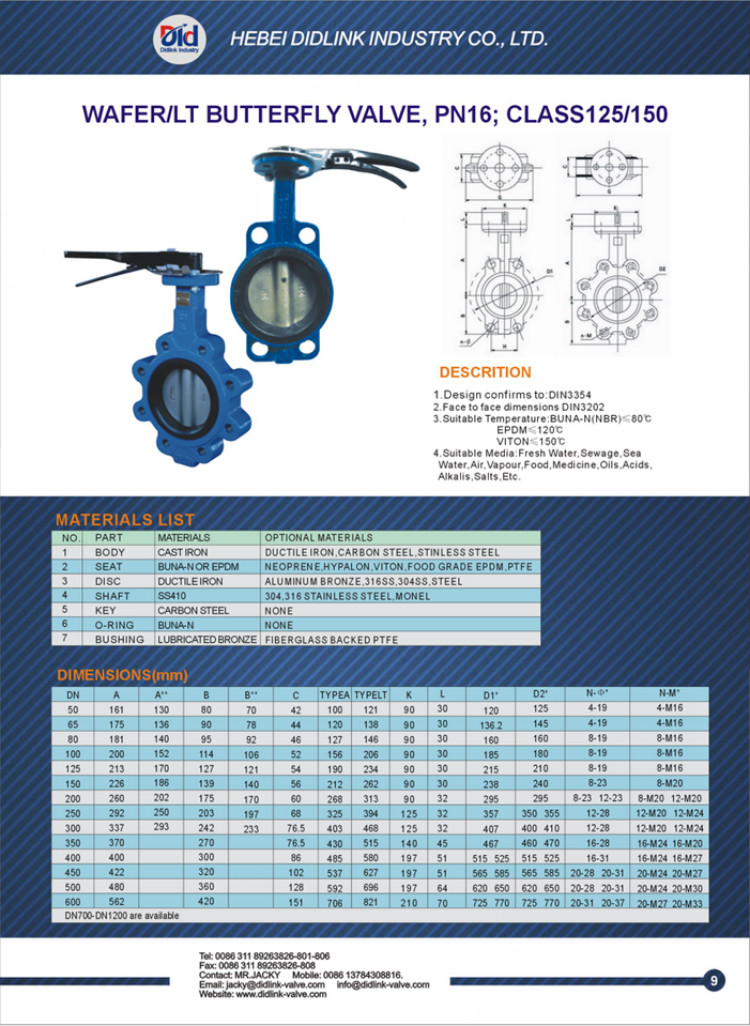 Actuated 4 Inch Italy 10 Lug Cryogenic Grooved Wafer Type Cast Iron Butterfly Valve Manufacturer