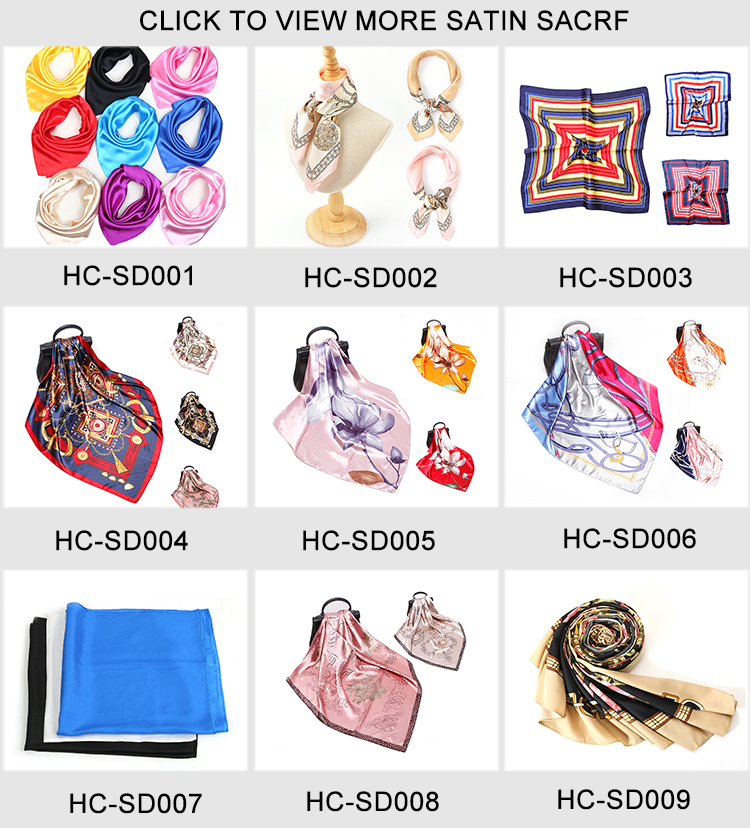 HC-SD007  low price stock women Satin scarf for girls and lady 60x60cm